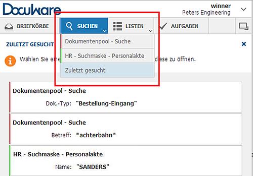 Web Client: Suchen