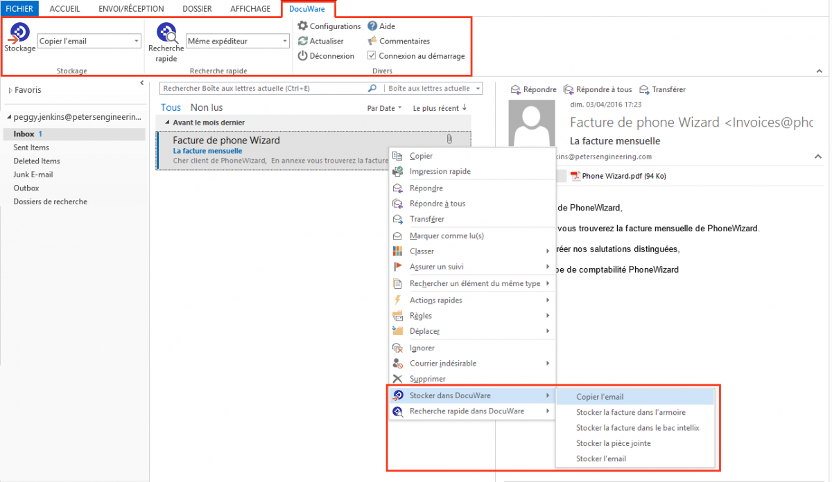 DocuWare Connect to Outlook