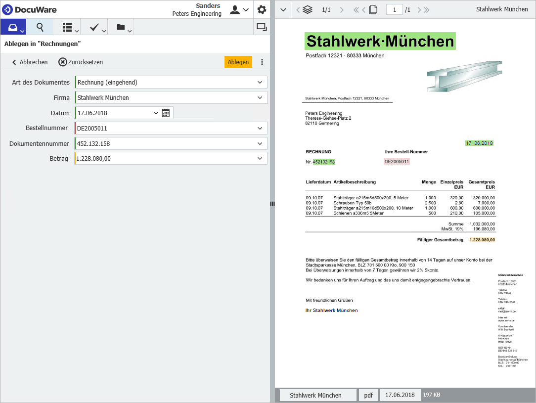 DocuWare Intelligent Indexing von Eingangsrechnungen
