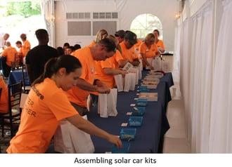 Assembling solar car kits