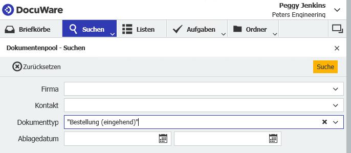 Im DocuWare Client suchen Sie über einen Suchdialog