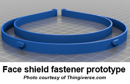 Face shield fastener prototype