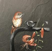 Painting of red and white bird