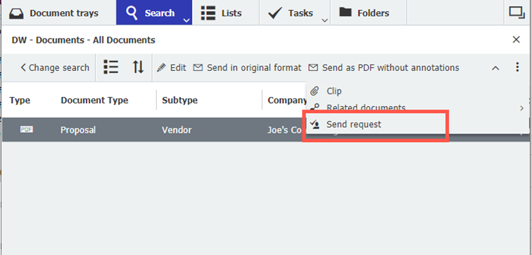 Send request function