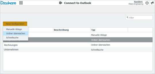 Ein überwachter Ordner kann nun bequem über eine eigene Konfiguration angelegt werden.