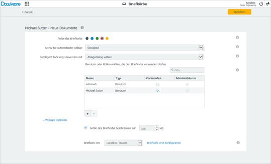 DocuWare Version 6.11: Die Konfiguration für Briefkörbe ist rundum erneuert und übersichtlich gestaltet.