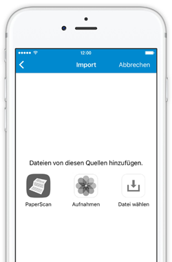 Die neue App-Version von DocuWare Mobile importiert jetzt Dokumente von verschiedenen Quellen wie PaperScan, dem Photoordner oder dem Dateisystem.