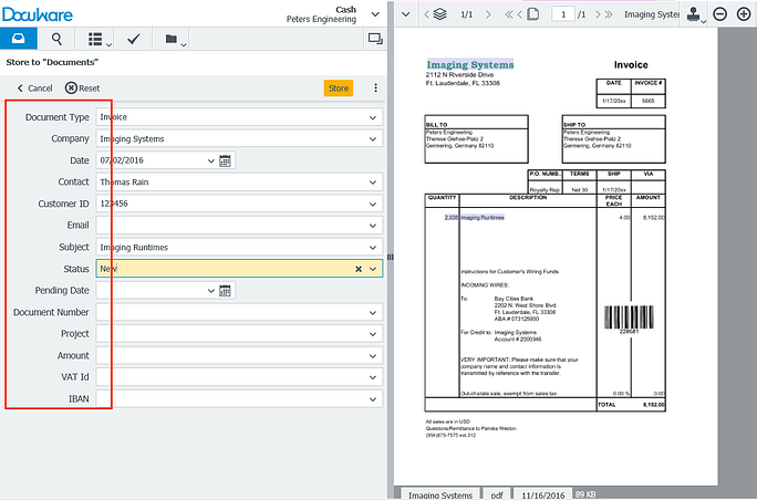 Archiving straight out of the box: DocuWare automatically provides you with a filing dialog that contains pre-defined fields like this.