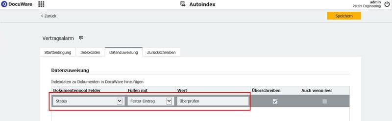 """Im Tab Datenzuweisung geben Sie ein, dass Autoindex den Status bei Fälligkeit auf """"Überprüfen"""" ändert und speichern die Konfiguration"""