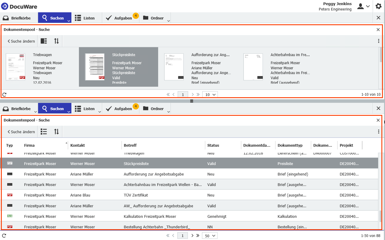 Zwei Arbeitsbereiche im DocuWare Client