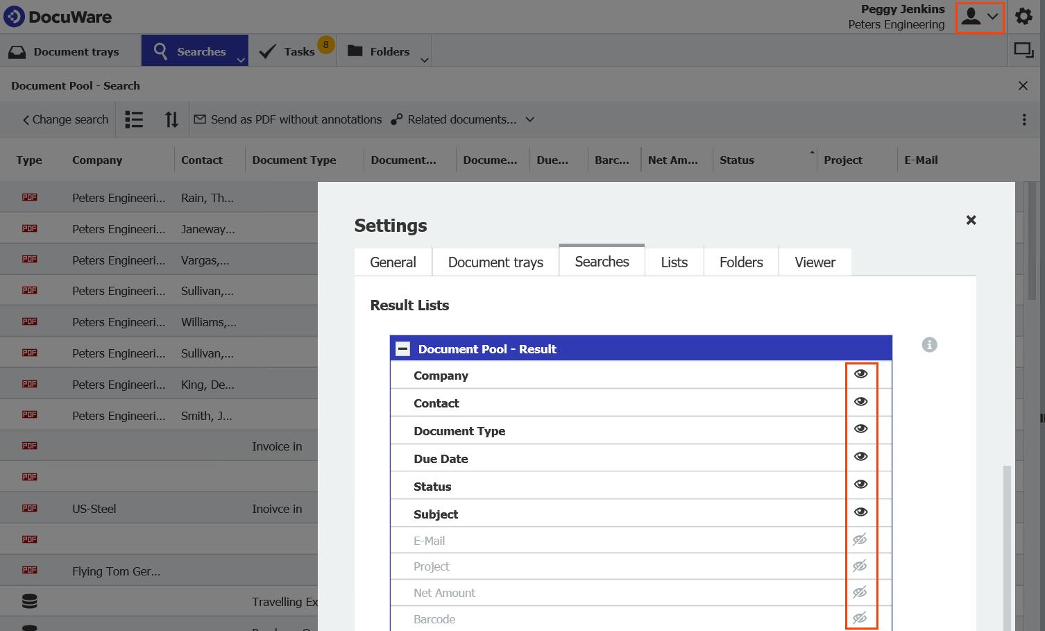 DocuWare Client Result List Optimization