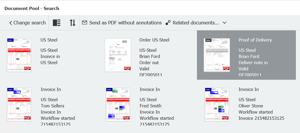 DocuWare Client Result List with Indexcard View