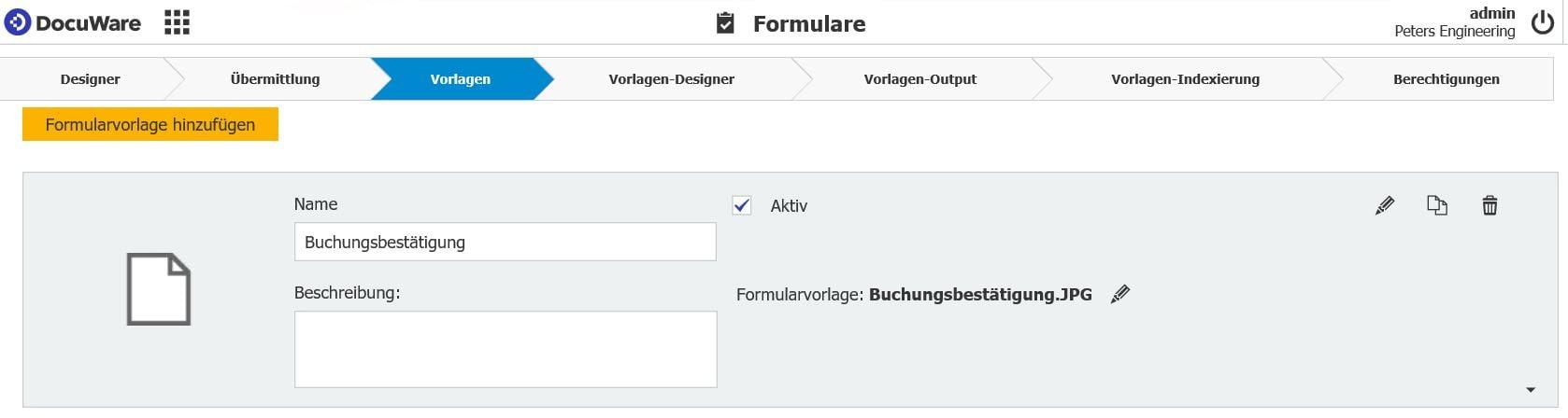 Formularvorlagen einfügen in DocuWare