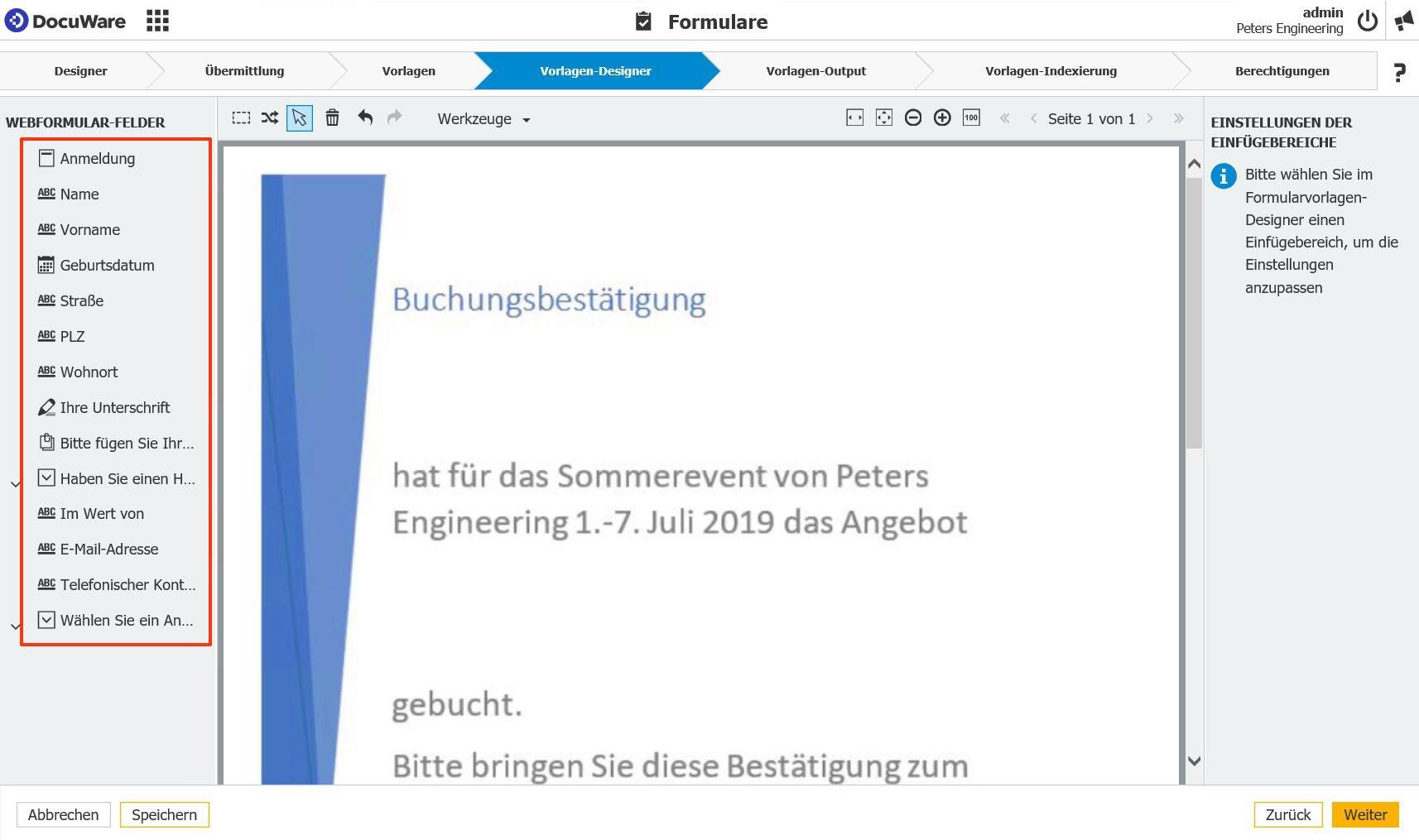 Formularvorlagen-Designer in DocuWare
