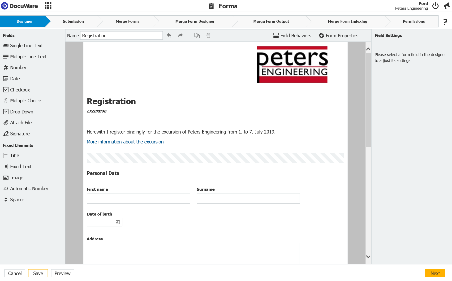 Create a Web Form with DocuWare