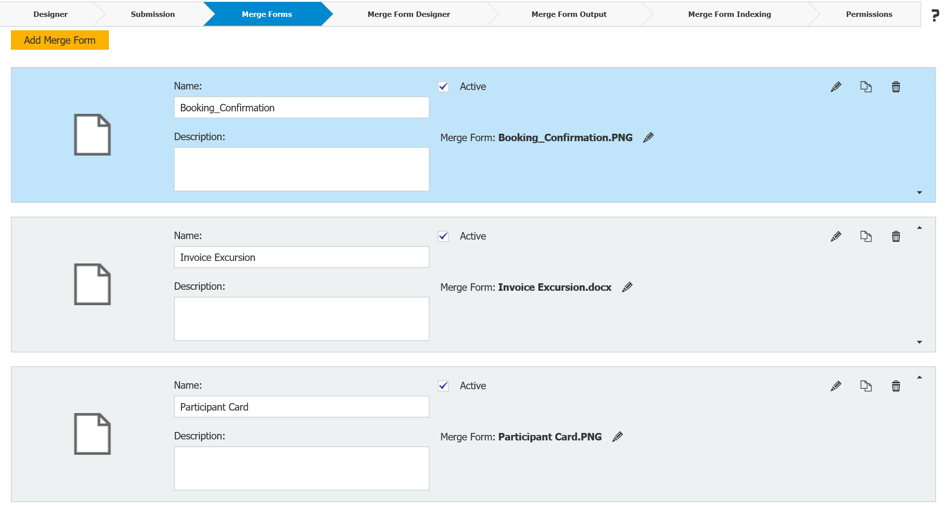 Add more than one merge forms so that they can be filled out with one single web form
