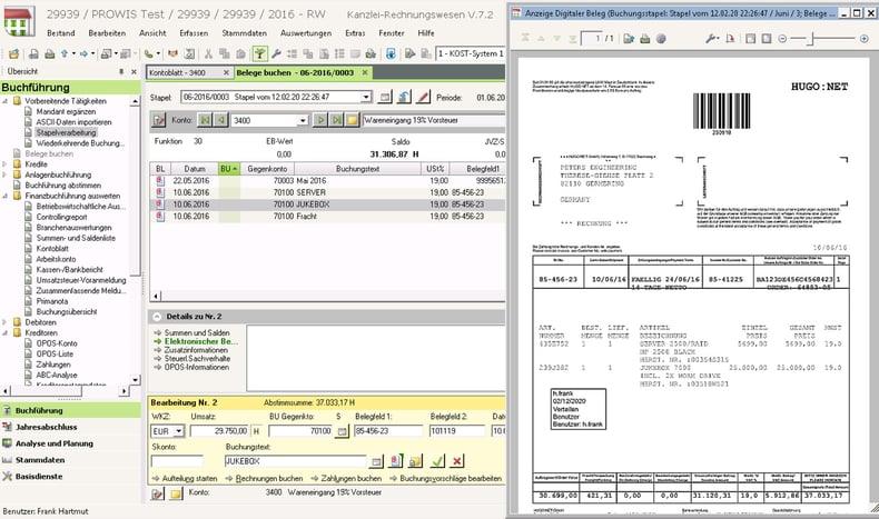 DocuWare: Aus DATEV Rechnungswesen öffnen Sie das zum Buchungssatz gehörige gescannten Dokument