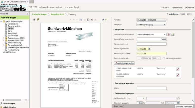 DocuWare: In DATEV Unternehmen Online haben Sie die gescannte Rechnung mit den Buchungsdaten direkt im Blick