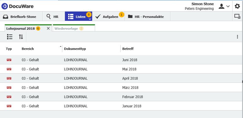 Gespeicherte Liste: alle Lohnjournale aus diesem Jahr für den schnellen Zugriff. Wird das Juli-Journal archiviert, erscheint es auch.