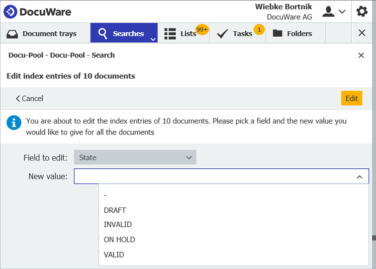 """The dialog """"Edit multiple index entries"""" in the DocuWare Client"""