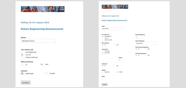 Felder wie die Optionen für Begleitpersonen oder Übernachtungen, werden nun nur dann eingeblendet, wenn der Benutzer die entsprechende Vorbedingung gewählt hat, hier zu sehen im Formular rechts