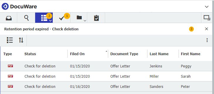 Workflow Manager: List of documents now due for deletion since their retention period has expired