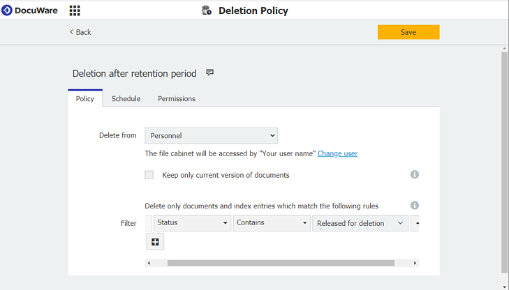 Deletion policy created in DocuWare Configuration - for documents released for deletion