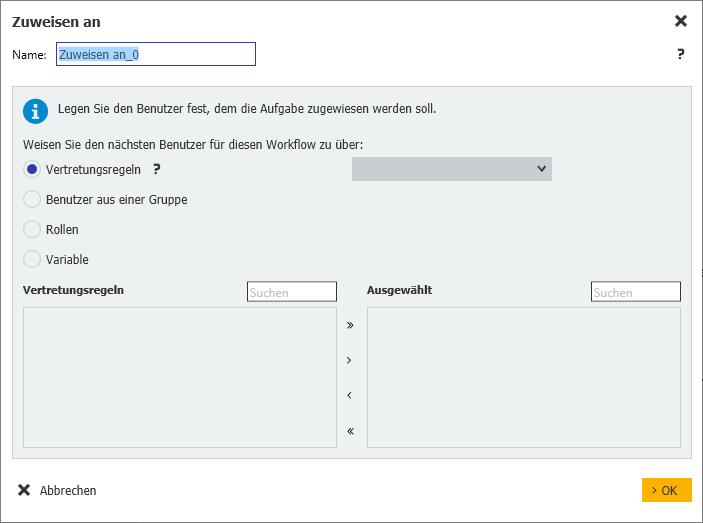 Workflow Manager: Die Optionen für das Zuweisen einer Aufgabe sind vielfältig.