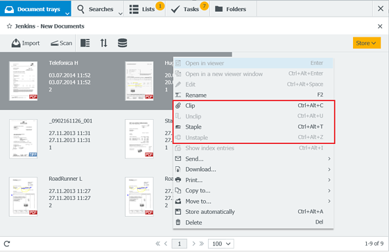 You can either staple or clip documents together in DocuWare. So what's the difference between the two options?