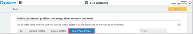 With an index value profile you can limit the documents that a user is able to view.