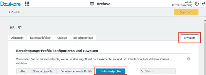 Mit einem Indexwertprofil grenzen Sie die Dokumente ein, die ein Mitarbeiter im Archiv ansehen kann