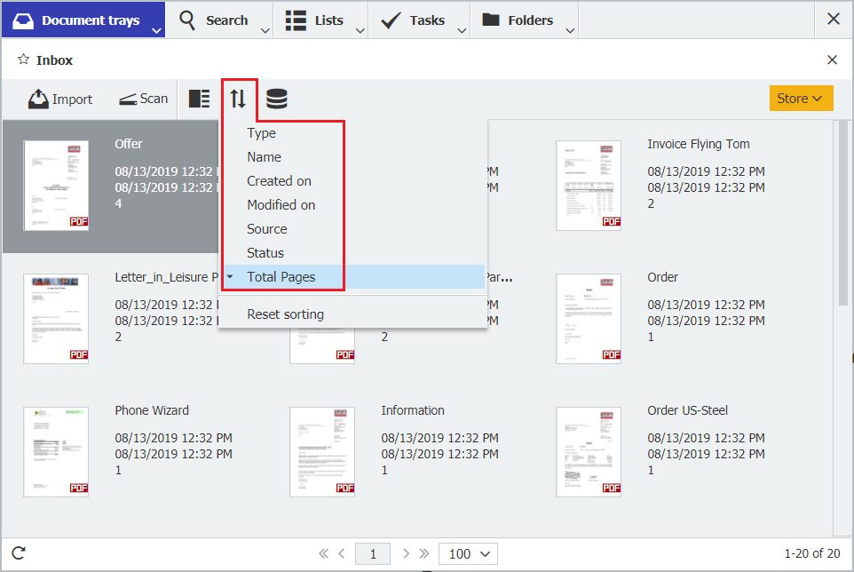 DocuWare Client: Change sort order using the button at the top of the document tray
