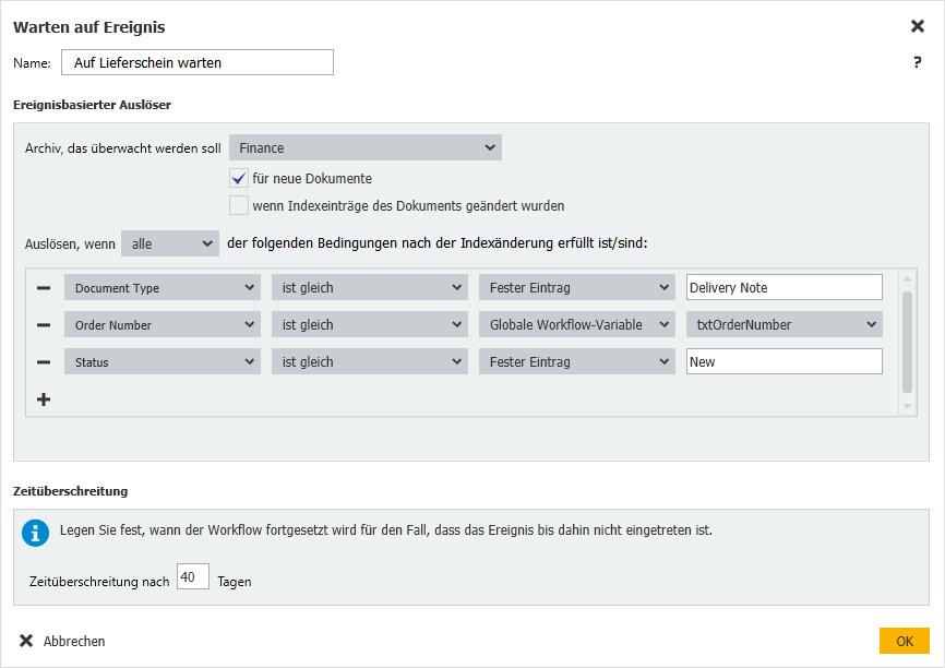 DocuWare Workflow: Konfiguration der Aktivität Warten auf Ereignis