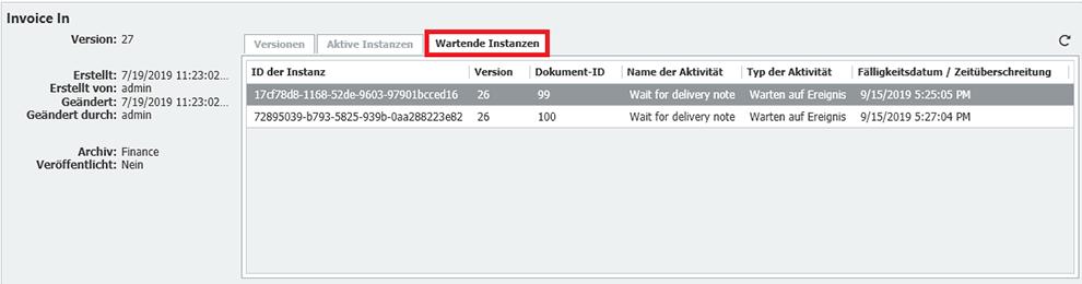 Überblick: Wartende Instanzen im DocuWare Workflow