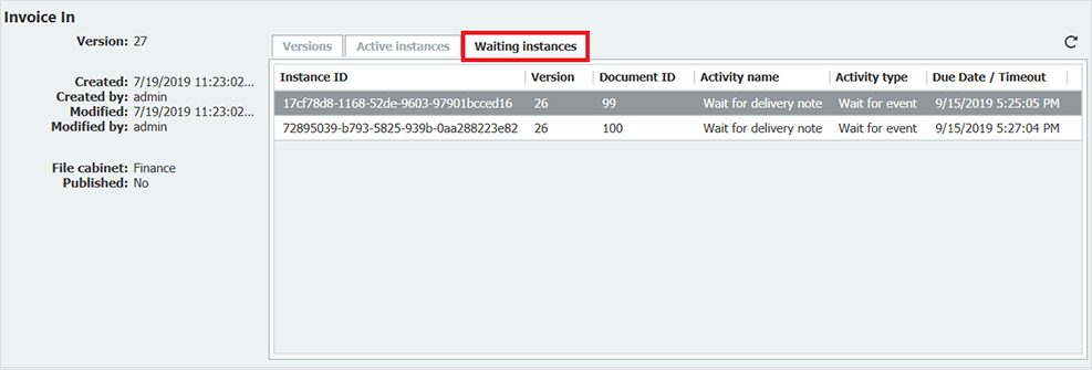 DocuWare Worklow has a new tab Waiting Instances
