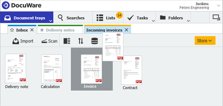 Open your document trays by using the drop-down menu in the tray rider of DocuWare client. The various trays are then arranged as tabs. To pre-sort documents, simply drag & drop them from one tray to another.