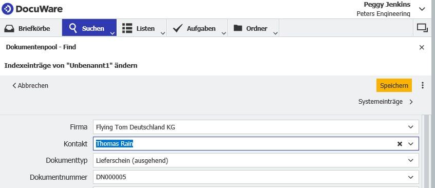 Es öffnet sich der Indexdialog, wo Sie die zum Dokument gehörigen Indexbegriffe sehen und bei Bedarf auch ändern können.