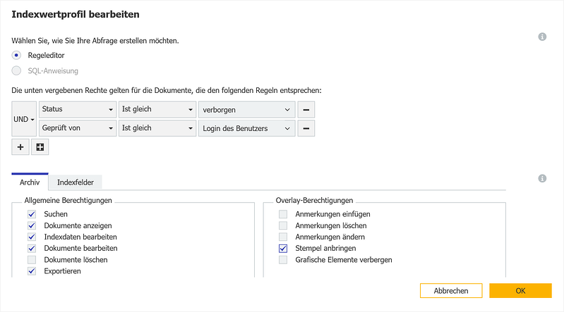 DocuWare Indexwertprofil 2 in der Archivadministration
