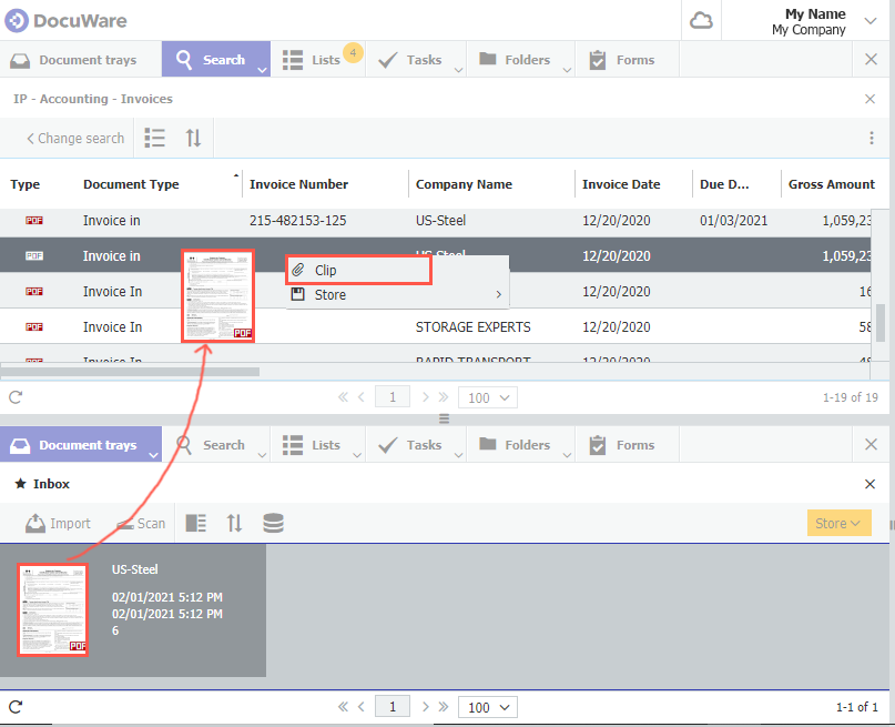 Simple Indexing in DocuWare with Drag and Attach