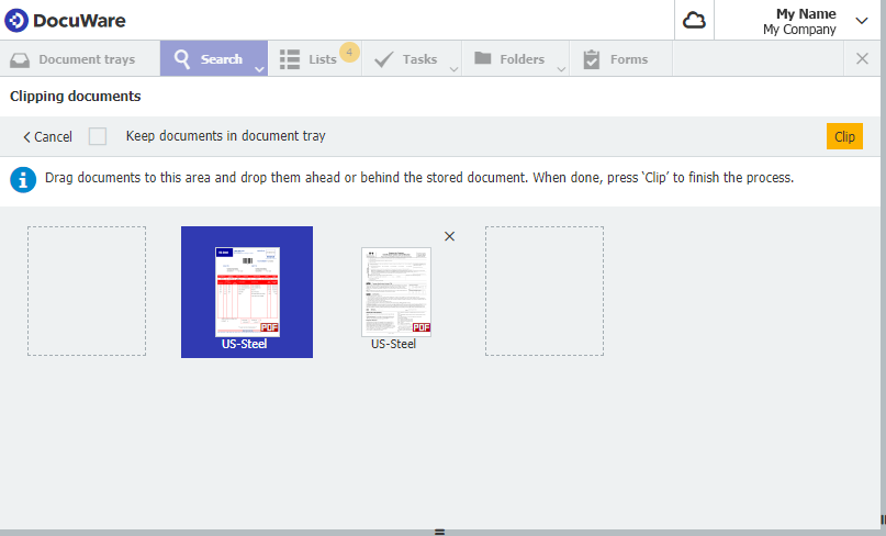 Sort clipped documents in DocuWare