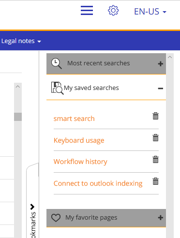 DocuWare Knowledge Center: Saved searches