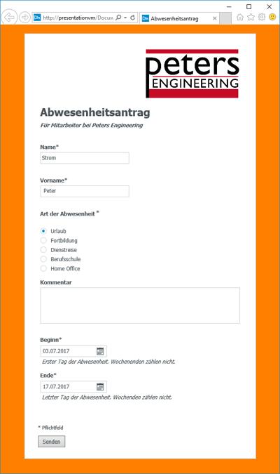 Stellen Sie ihren Mitarbeitern im Mitarbeiterportal Ihrer Firmenwebseite oder als Favorit im Browser ein Web-Formular für Abwesenheitsanträge zur Verfügung.
