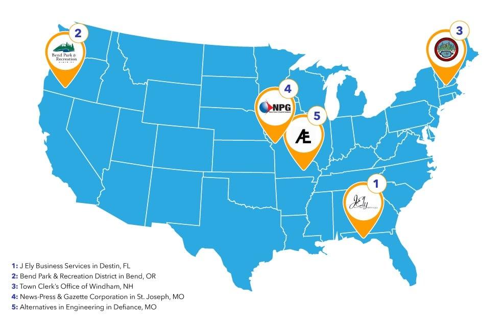 DocuWare Customer USA Map
