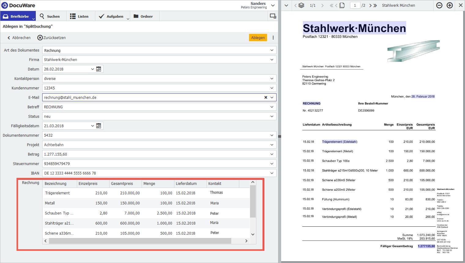 Ein Tabellenfeld setzt sich aus mehreren Feldern zusammen, die im Web Client als Spalten der Tabelle angezeigt werden.