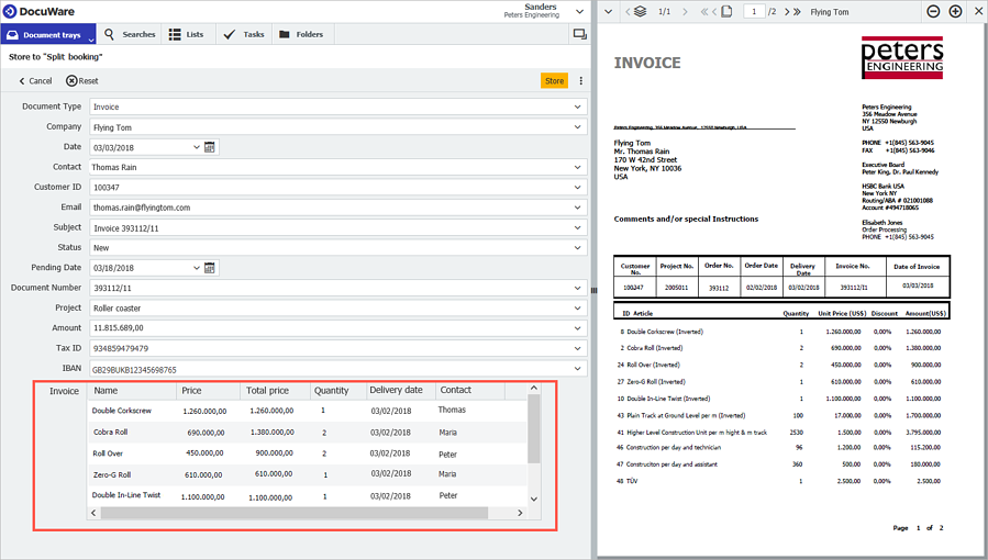 Table field in DocuWare Client