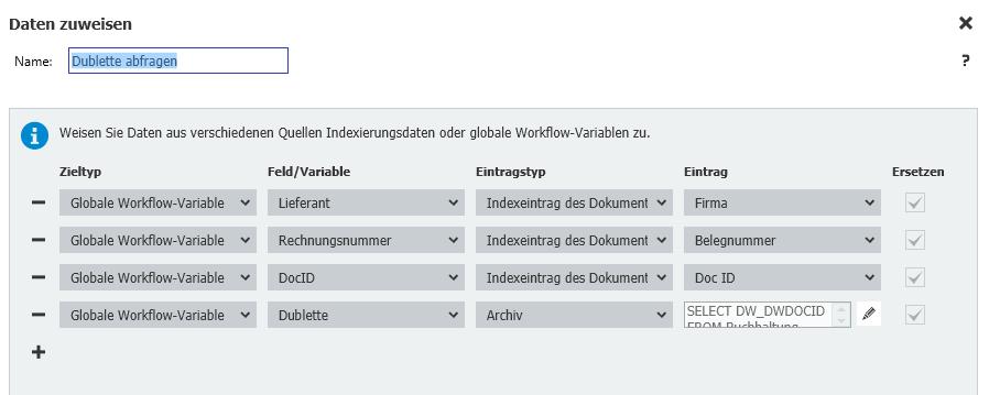 Datenzuweisung im Workflow Designer