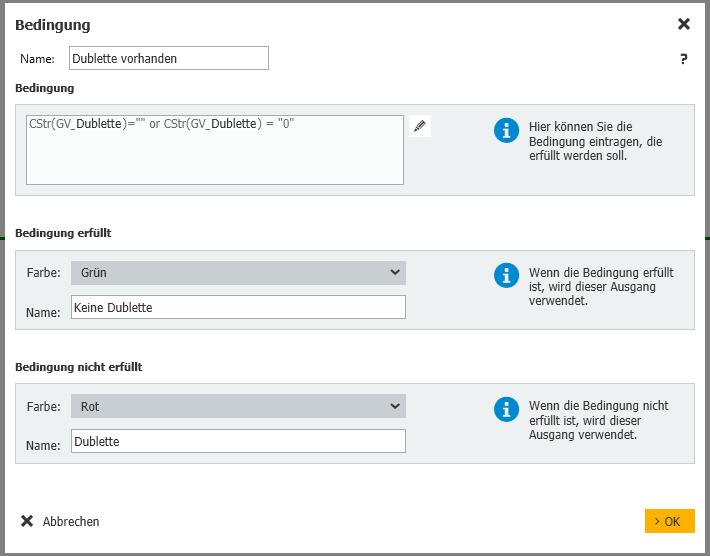 Bedingung der Dublettenprüfung im Rechnungsworkflow