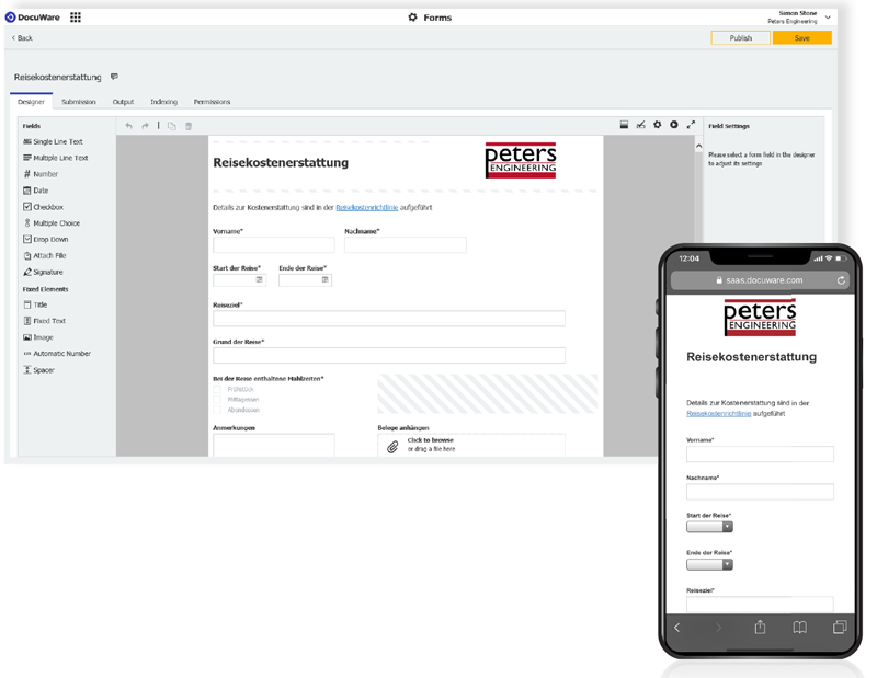 DocuWare-Formular auf dem Smartphone betrachten