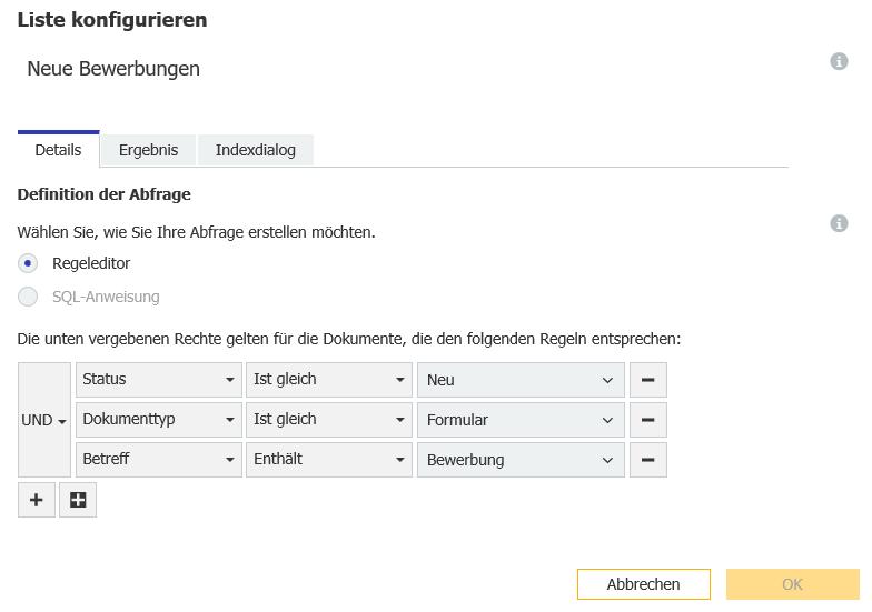 Um eine Liste für mehrere Mitarbeiter einzurichten, wechseln Sie in der DocuWare Konfiguration im Archivbereich unter Dialoge zu den Listen.