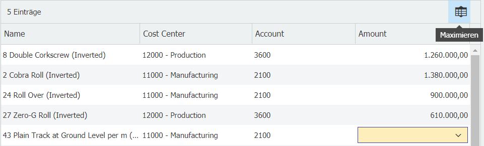 Tabellenansicht in DocuWare maximieren